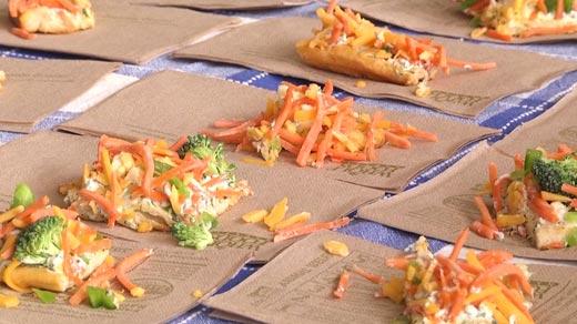 Veggie pizza samples