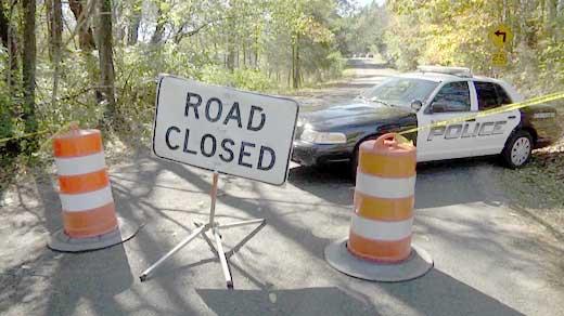 Road block set up on Old Lynchburg Road