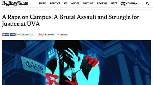 Screenshot of the original article on the Rolling Stone website
