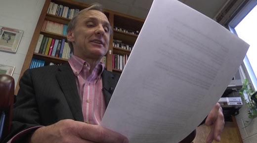Prof. Joe Allen reads draft of Survivors' Bill of Rights