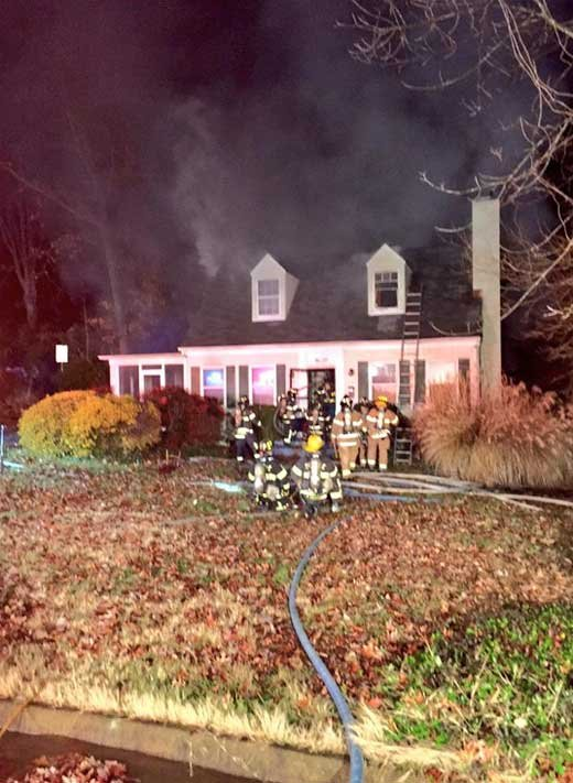 Firefighters on the scene at Robin and Mani Aldridge's home (Photo courtesy Charlottesville Fire Department)