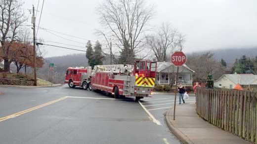 Fire truck blocking roads in the neighborhood