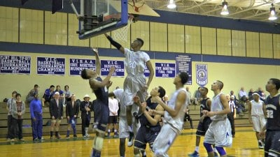 Diakite rising above the defense at the Blue Ridge School