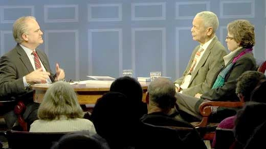 Julian Bond and Phyllis Leffler discuss details of the 'Black Leaders on Leadership' project