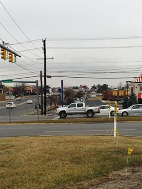Columbia pipeline markers in Waynesboro Co. at the intersection of Lew Dewitt Blvd. and Rosser Ave./Route 340. Courtesy Dominion.