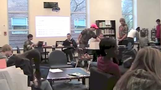 Photo courtesy of a student-produced video tour of the Learning Commons. http://www.youtube.com/watch?v=L18aec5LSMY