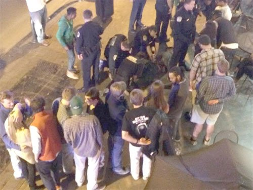 The view from a balcony of the Martese Johnson arrest
