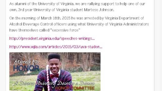 UVA Alumni for Change have started an Indiegogo site to support Martese Johnson.