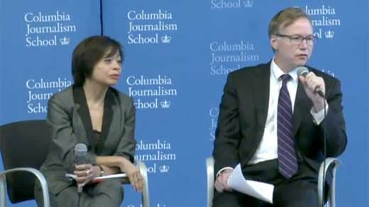 Columbia Journalism School Academic Dean Sheila  Coronel and Dean Steve Coll