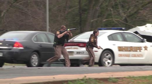 Law enforcement taking part in training simulation