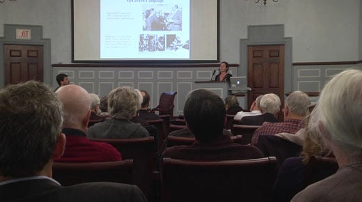 Lily Geismer speaking at a Miller Center event