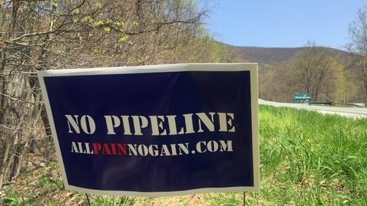 Pipeline opposition sign near Wintergreen