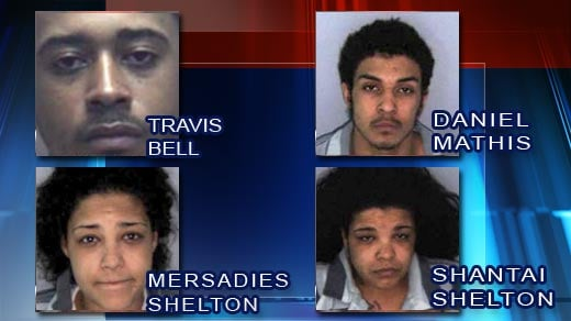 The 4 defendants charged with kidnapping, murder, racketeering and robbery.