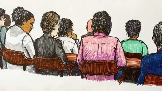 Artist rendering of some of the defendants in the case