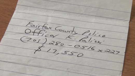 Receipt for money seized from Stuart