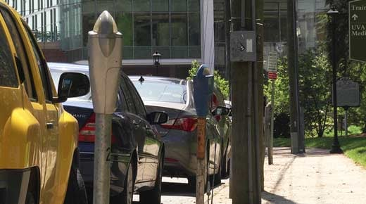 Metered parking spots in Charlottesville