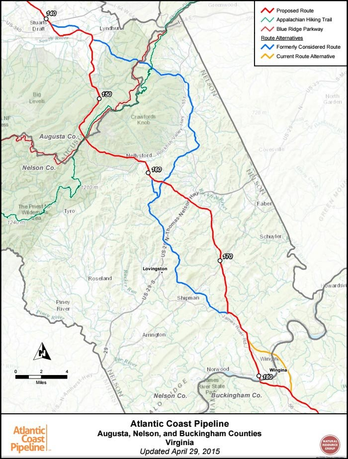 Map of proposed route change.  The red line is the newly proposed route