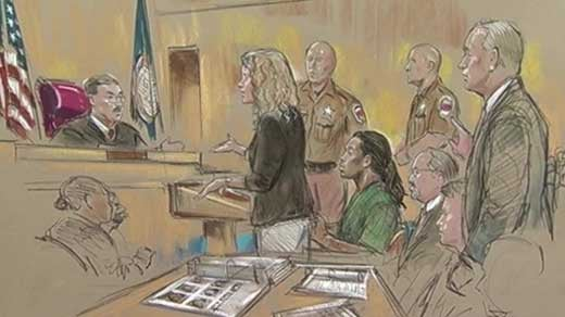 Courtroom sketch of Jesse Matthew