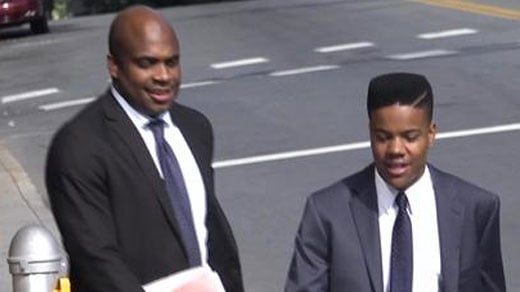 File Image: Martese Johnson and his attorney leaving court