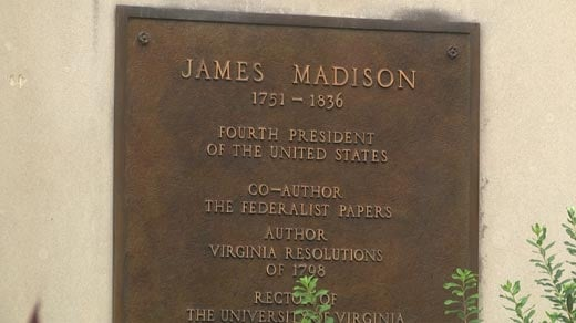 Plaque with information on James Madison's work and contributions to the country.