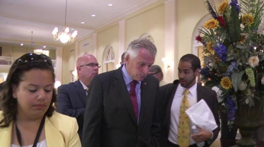 Gov. McAuliffe making his way through the Stonewall Jackson Hotel in Staunton