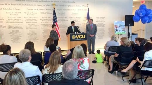Governor McAuliffe at the launch of the FAMIS back-to-school enrollement campaign at VCU