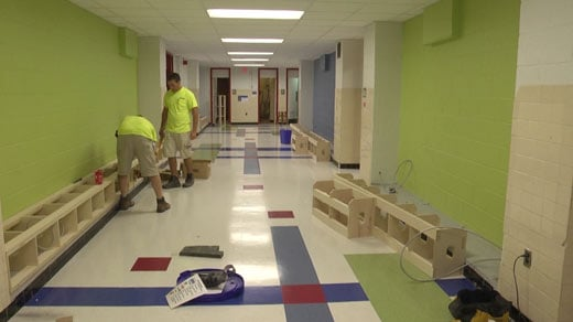 Workers are busy installing the new charging stations at Albemarle High School.