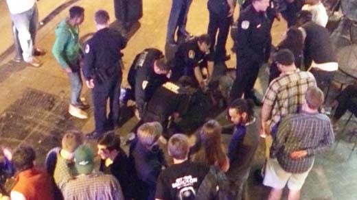 File Image: Martese Johnson being detained outside a bar on the UVA Corner