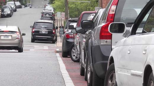 Cars parked in the Court Square area of Charlottesville