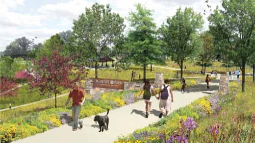 Artist rendition of a park entrance (Image courtesy of McIntire Botanical Garden)