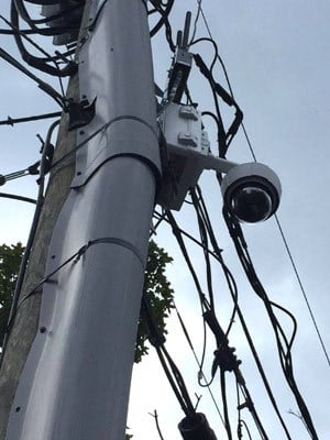 Surveillance camera monitoring a park in Charlottesville