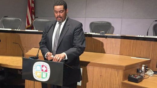 Charlottesville City Manager Maurice Jones taking part in a news conference