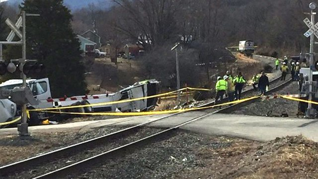 Investigators on the scene of a fatal crash involving an Amtrak train in Crozet (Photo courtesy Albemarle County Police Department)