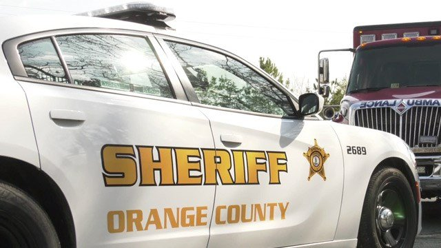 Vehicles with the Orange County Sheriff's Office and Fire & EMS