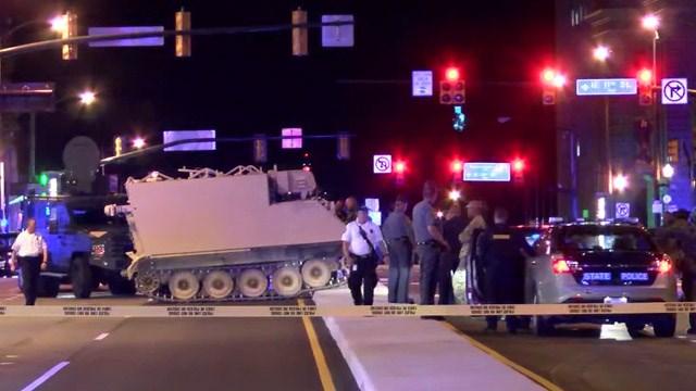Authorities surround an armored vehicle near Richmond City Hall