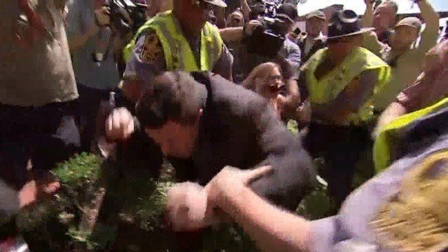 Phoebe Stevens appeared to tackle Unite the Right rally organizer Jason Kessler (FILE IMAGE)