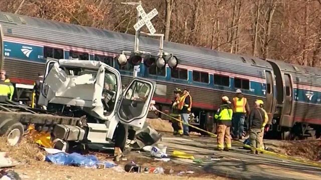 Scene of a fatal crash between an Amtrak train and garbage truck in Crozet (FILE IMAGE)