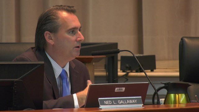Board member Ned Galloway speaks at Wednesday's meeting.