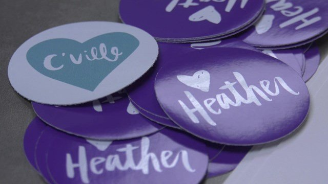 Stickers hoping to spread love and honor Heather Heyer.