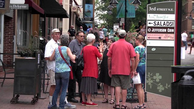 Community members on the Downtown Mall