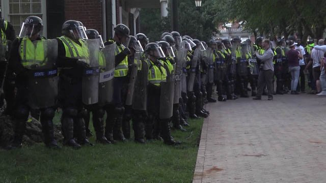 Line of police on UVA's Grounds