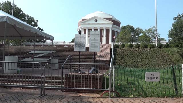 All was quiet at UVA on Sunday, August 12