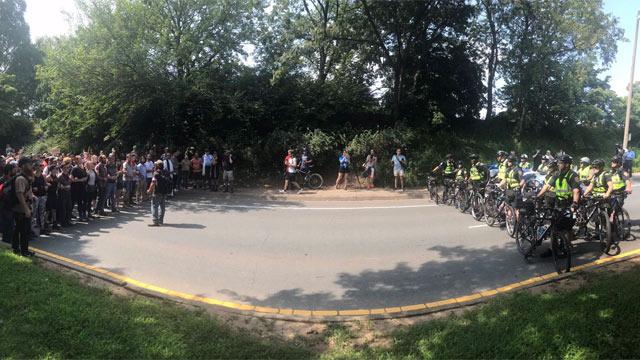 Standoff between police and protesters on Preston Avenue (Courtesy of Victoria Wresilo).