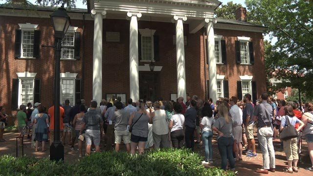 A group from Charlottesville High School visited Court Square on Aug. 17