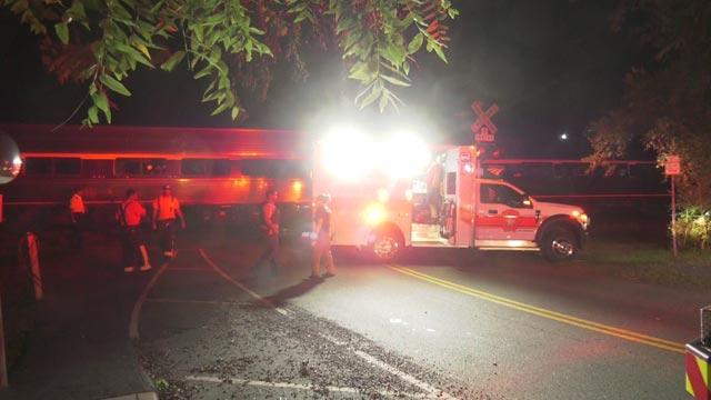 Crews say a train hit a pedestrian on Friday night