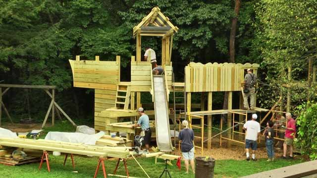 The constructing of the playground