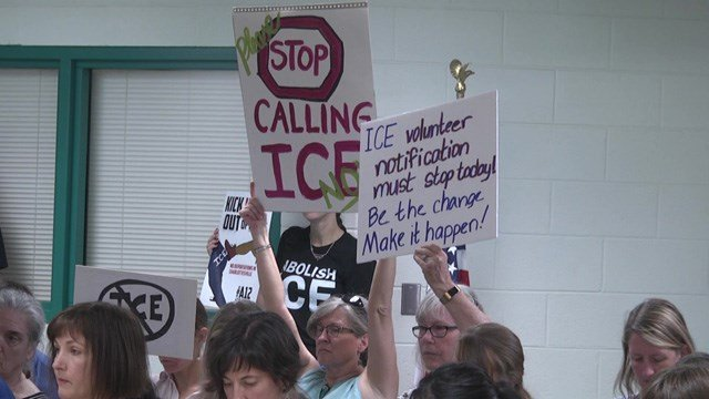 Protests at previous board meetings have called for the jail to stop notifying ICE.