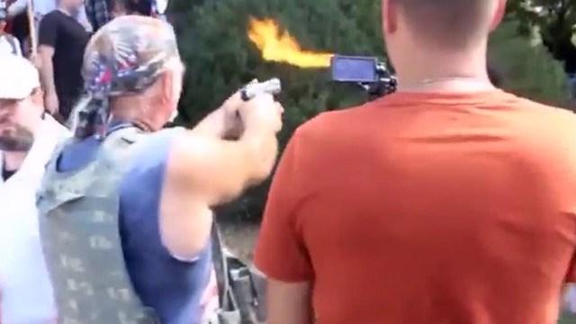 Richard Preston preparing to fire a shot at Corey Long (Courtesy ACLU of Virginia)