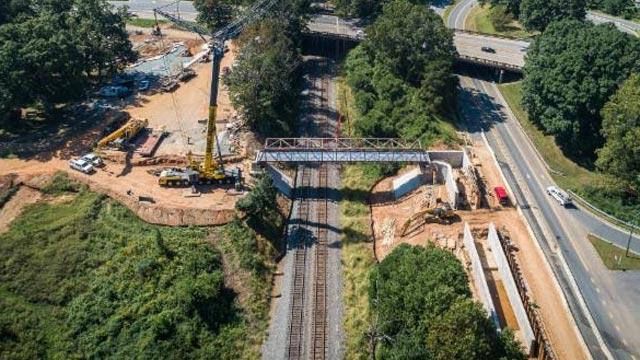 Work on the McIntire Pedestrian Bridge (Photo courtesy Charlottesville)