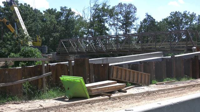 Work on the McIntire Pedestrian Bridge